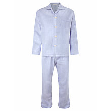 Buy Derek Rose Stripe Brushed Cotton Pyjamas, Blue Online at johnlewis.com