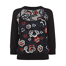 Buy Karen Millen Floral Embroidered Jumper, Black/Multi Online at johnlewis.com