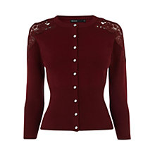 Buy Karen Millen Lace Detail Cardigan, Dark Red Online at johnlewis.com