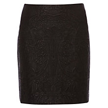 Buy Karen Millen Faux Leather Embroidered Skirt, Black Online at johnlewis.com