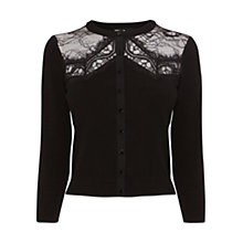 Buy Karen Millen Lace Panel Cardigan, Black Online at johnlewis.com