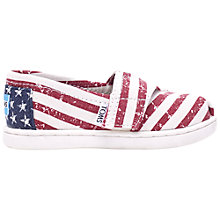 Buy TOMS Childrens Americana Canvas Espadrilles, Red/White Online at johnlewis.com