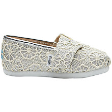 Buy TOMS Children's Glitter Tiny Toms Classic Shoes, Silver Online at johnlewis.com
