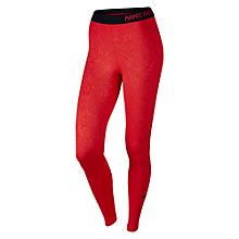 Buy Nike Pro Warm Embossed Vixen Running Tights, Light Crimson/Black Online at johnlewis.com