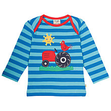 Buy Frugi Organic Baby Bobby Long Sleeve Tractor Top, Blue Online at johnlewis.com