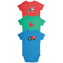Buy Frugi Organic Baby Farm Print Bodysuits, Pack of 3, Multi Online at johnlewis.com