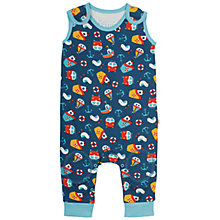 Buy Frugi Organic Baby Kneepatch Nautical Dungarees, Navy/Multi Online at johnlewis.com