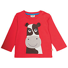 Buy Frugi Organic Baby Cow Appliqué Long Sleeve Top, Red Online at johnlewis.com
