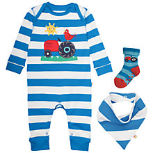 Buy Frugi Organic Baby Bubly Stripe Tractor Sleepsuit 3 Piece Set, Blue/Multi Online at johnlewis.com
