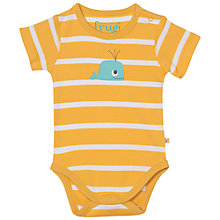 Buy Frugi Organic Baby Lowen Stripe Whale Bodysuit, Yellow Online at johnlewis.com