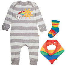 Buy Frugi Organic Baby Bubly Stripe Rainbow Sleepsuit 3 Piece Set, Grey/Multi Online at johnlewis.com