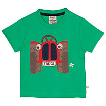 Buy Frugi Organic Baby Wheels Tractor Applique T-Shirt, Green Online at johnlewis.com