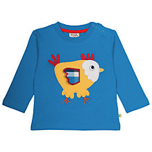 Buy Frugi Organic Baby Chick Appliqué Long Sleeve Top, Blue/Multi Online at johnlewis.com