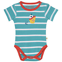 Buy Frugi Organic Baby Lowen Stripe Boat Bodysuit, Blue/Multi Online at johnlewis.com