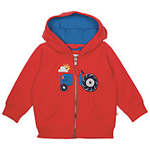 Buy Frugi Organic Baby Hayle Tractor Hoodie, Red Online at johnlewis.com