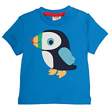 Buy Frugi Organic Baby Puffin Applique T-Shirt, Blue Online at johnlewis.com