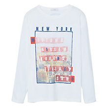 Buy Mango Kids Boys' New York Print T-Shirt, White Online at johnlewis.com