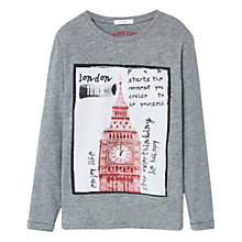 Buy Mango Kids Boys' London Print T-Shirt, Grey Online at johnlewis.com