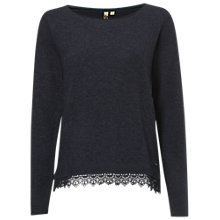 Buy White Stuff Plain Lace Knitted Jumper, Navy Online at johnlewis.com