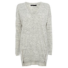 Buy Karen Millen V-Neck Tunic Top, Pale Grey Online at johnlewis.com