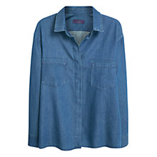 Buy Violeta by Mango Chest Pocket Denim Shirt, Open Blue Online at johnlewis.com