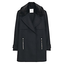 Buy Mango Faux Fur Lapels Coat, Black Online at johnlewis.com