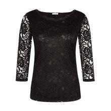 Buy Planet Scallop Lace Jersey Top, Black Online at johnlewis.com