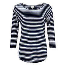 Buy East Striped Cotton Jersey Top, Indigo Online at johnlewis.com