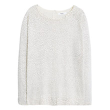 Buy Mango Polka-Dit Cotton-Blend Sweater, Light Beige Online at johnlewis.com