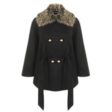 Buy Miss Selfridge Detachable Collar Coat, Black Online at johnlewis.com