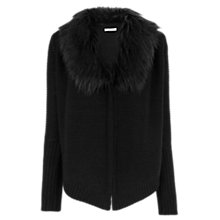Buy Oasis Faux Fur Trim Drape Cardigan, Black Online at johnlewis.com