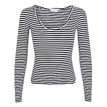 Buy Miss Selfridge Striped Ribbed Crop Top, Black/Multi Online at johnlewis.com