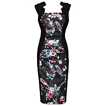 Buy Jolie Moi Floral Print Bodycon Dress, Black Online at johnlewis.com