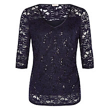 Buy Planet Sequin Lace Top, Dark Blue Online at johnlewis.com
