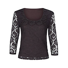 Buy Precis Petite Pleated Lace Top, Brown Online at johnlewis.com