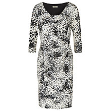 Buy Precis Petite Spot Print Ruched Jersey Dress, Brown/Multi Online at johnlewis.com