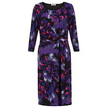 Buy Precis Petite Floral Print Twist Detail Dress, Purple/Multi Online at johnlewis.com