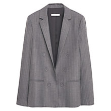 Buy Mango Pinstripe Suit Blazer, Medium Grey Online at johnlewis.com