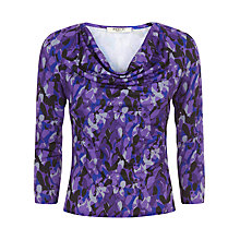 Buy Precis Petite Cowl Neck Leaf Print Top, Purple/Multi Online at johnlewis.com
