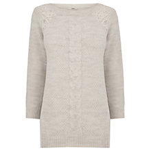 Buy Oasis Lace Detail Phoebe Jumper, Pale Grey Online at johnlewis.com