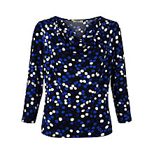 Buy Precis Petite Cowl Neck Spot Print Top, Blue/Multi Online at johnlewis.com