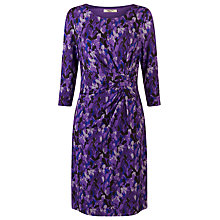 Buy Precis Petite Leaf Print Twist Detail Dress, Purple Online at johnlewis.com