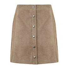 Buy Mint Velvet Suede Popper Skirt, Camel Online at johnlewis.com