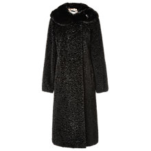Buy Jacques Vert Faux Fur Astrakhan Coat, Black Online at johnlewis.com