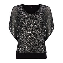 Buy Phase Eight Antnlla Sequin Top, Black/Silver Online at johnlewis.com