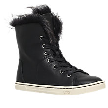 Buy UGG Croft Faux Fur Lined High Top Trainers, Black Leather Online at johnlewis.com
