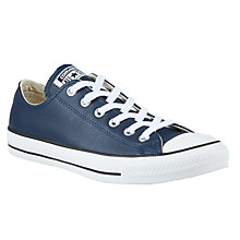 Buy Converse Chuck Taylor All Star Leather Trainers, Navy Online at johnlewis.com