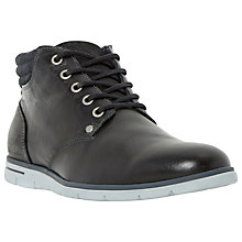 Buy Dune Cane Wedge Sole Leather Lace Up Boots, Black Online at johnlewis.com