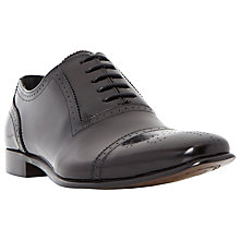 Buy Dune Rule Hi-Shine Leather Brogue Shoes, Black Online at johnlewis.com