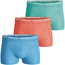 Buy Bjorn Borg Basic Solid Cockatoo Trunks, Pack of 3, Blue/Orange/Green Online at johnlewis.com